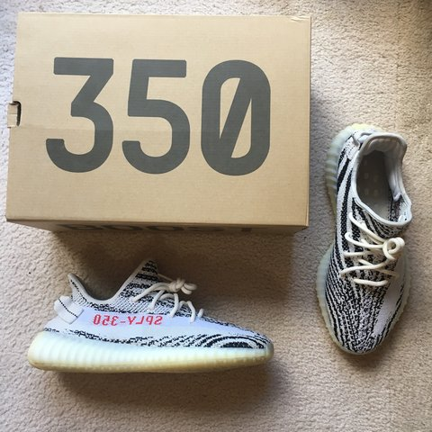 "401aacb56a5 Yeezy 350 Boost V2 ""Zebra"" Size 9.5 Mens Condition 8 10 - Depop"