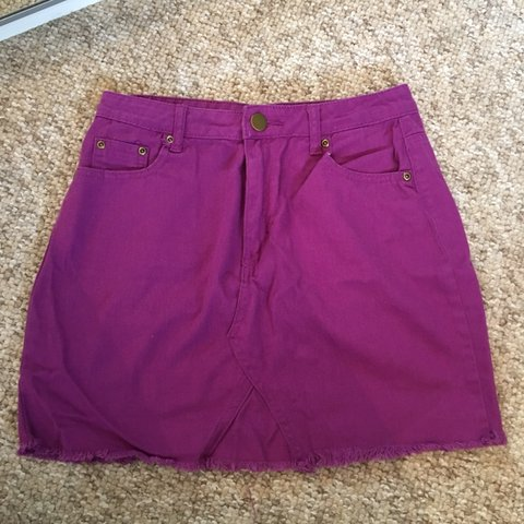 56766bc8a05cd6 @hcamkerr. last month. Ayr, United Kingdom. BOOHOO Blue cute purple denim  skirt. Only worn once and excellent condition. Size 10 ladies.