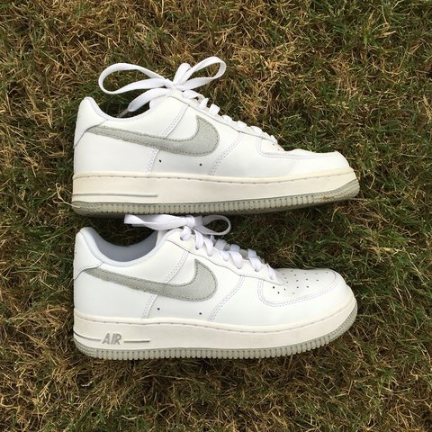 Nike Air Force 1   shiny sparkly metallic silver and white a - Depop c2d4cee7f4