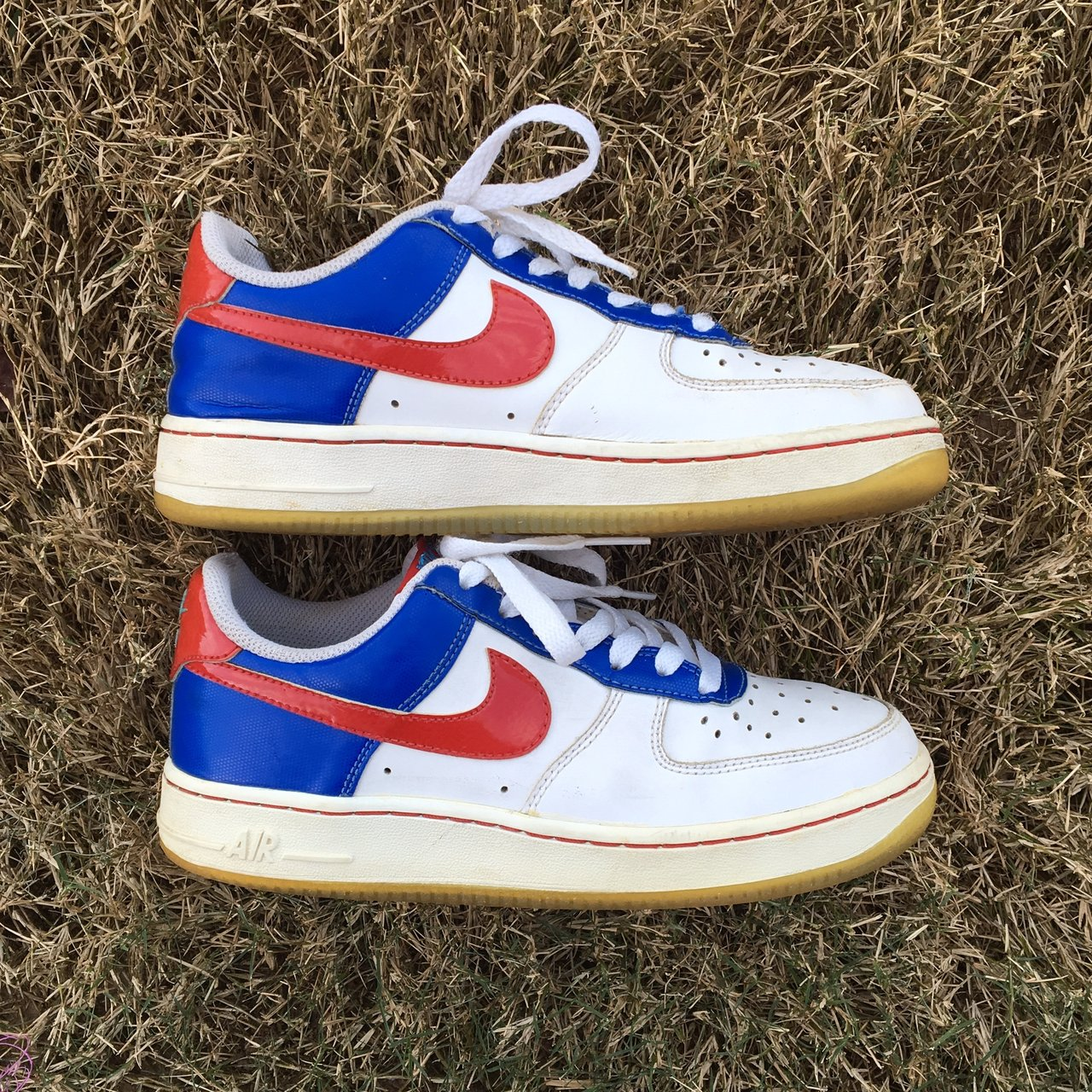 official photos 7b772 9c418 Nike Air Force 1   Blue and red with white AF1! Funky design - Depop