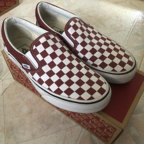 974a3a32c0b Apple butter burgundy checkerboard slip on vans Women s 8 a - Depop