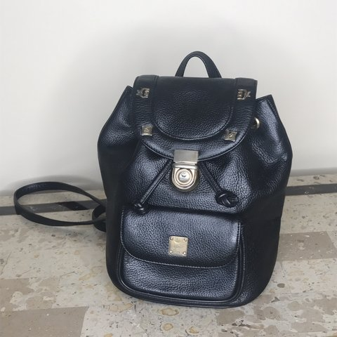 6c5785405b9 MCM Vintage Backpack Small Features  1 Pocket outside