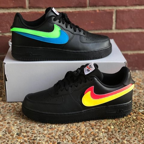 Black Nike Air Force 1 Removable Swoosh Pack Size 10 Worn 9 - Depop c782dc341
