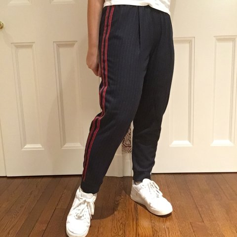 82dd52ce @blizz01113. 5 days ago. New York, United States. Zara navy side striped  pants