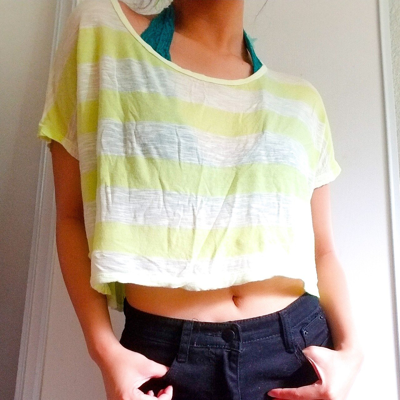 c9b58779e2130 Aeropostale neon see through crop top! Soft and stretchy to - Depop