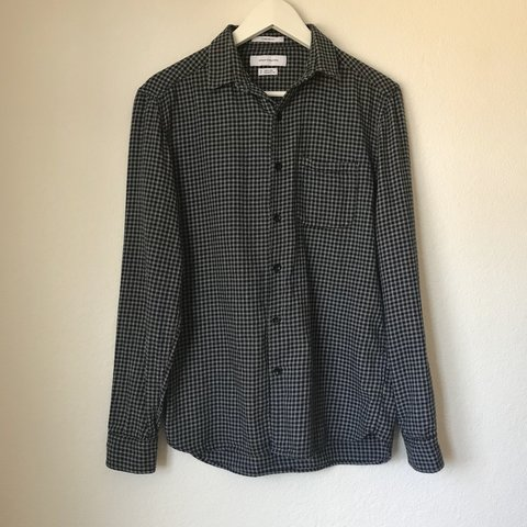 58d25aa76d3d07 Urban Outfitters Vintage Checkered Black & White Flannel XS - Depop