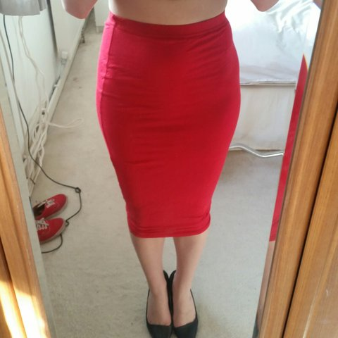 6d68d88386 @becca_allen10. 4 years ago. Billericay, United Kingdom. Sexy red cotton  pencil skirt says size 6 but more size 8 ...