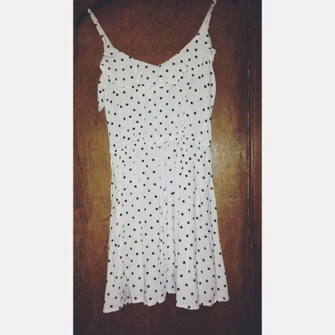 a237682c598b White spotty summer dress - thin straps - worn only a few - - Depop