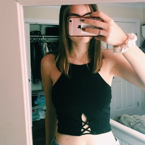 0463be4dd11e5 Black henley cropped tank top. Originally bought from One me - Depop