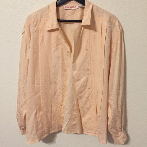 656c2c3a40b9a Vintage light blush pink 100% silk button down shirt with - Depop