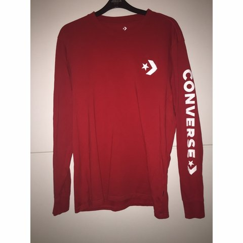750a2f520937 ⛔️NO OFFERS⛔ Converse Long sleeve red Tee Immaculate - £2 - Depop