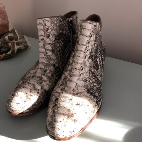673a38be0 SPRINGSALE!!!! Sam Edelman snakeskin boots. Has minor wear. - Depop