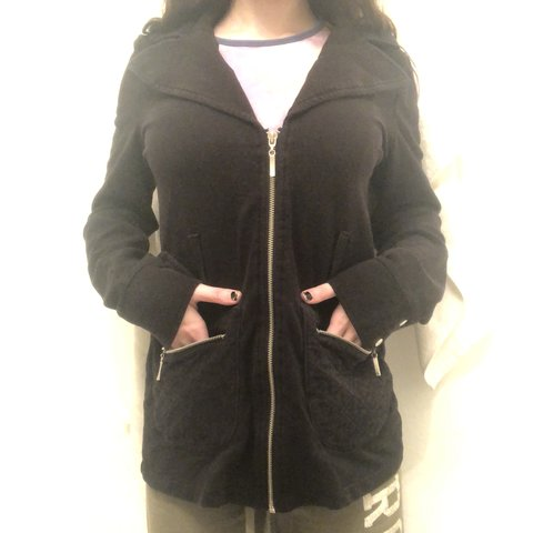 92c91b7b5d9 Forever 21 black zip up jacket with two zip up pockets
