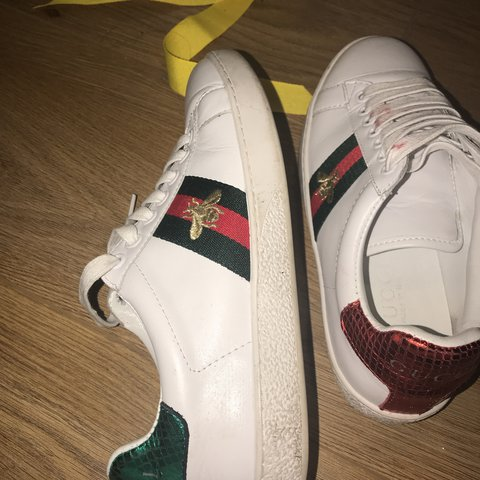 4d0cd96b186 More pics of Gucci trainers lipstick mark on lace but easily - Depop