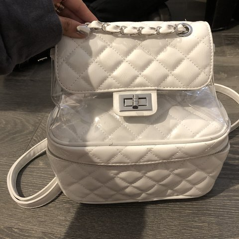 ecba72eced5dd9 @madisonxbeer. 5 months ago. West Hollywood, United States. bootleg chanel  knockoff white backpack with clear ...