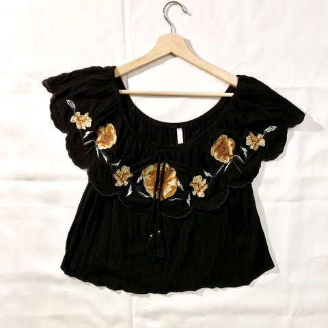 387f8a1c090 @sarahmdean9. 4 months ago. Lenexa, United States. Xhilaration brand black  top with embroidered floral ...