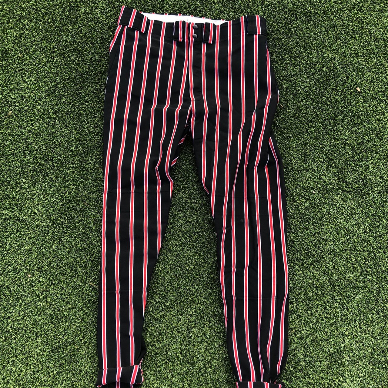 STRIPED RED AND BLACK BASEBALL PANTS personally I m a very I - Depop 53ff01f9dfb7