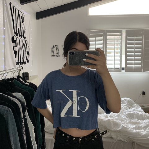 2e60342dc31b6 BLUE CALVIN KLEIN CROP TOP lightly worn size large PRICES - Depop