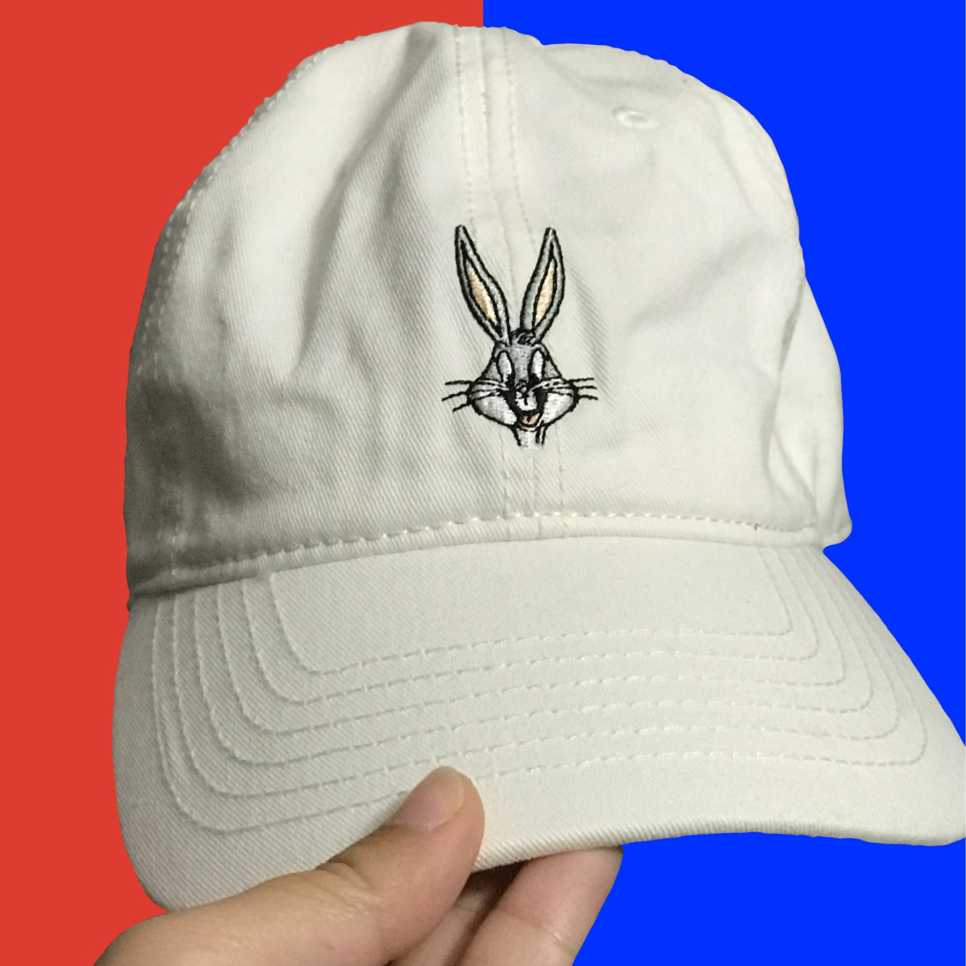 b7db6a3d5 White Forever 21 Embroidered Bugs Bunny Dad Cap Cute... - Depop