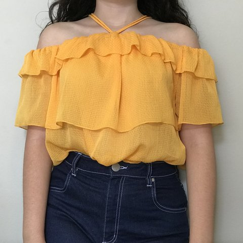 d3d7e7b71ef Bright Yellow H&M Off-the-shoulder Ruffle Top Size 4 What I - Depop