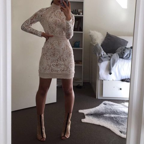 ab131e728f PrettyLittleThing Isobel White Lace High Neck Bodycon 6 RRP  - Depop