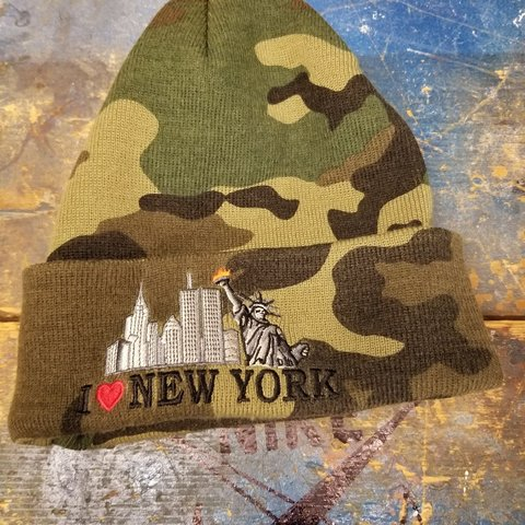a00eb00276476 Supreme I love new york beanie. Woodland camo.  supreme - Depop