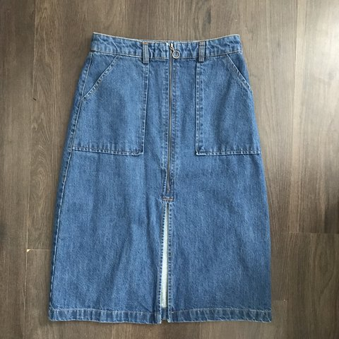 71a7f6a7c4 🍋PULL   BEAR DENIM SKIRT🍋 ✨Size S - would fit UK once for - Depop