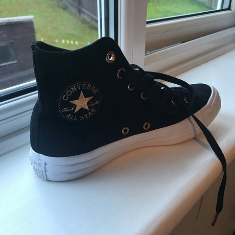 9b6b1468bd8 Suede black and rose gold women s converse hi tops. Never in - Depop