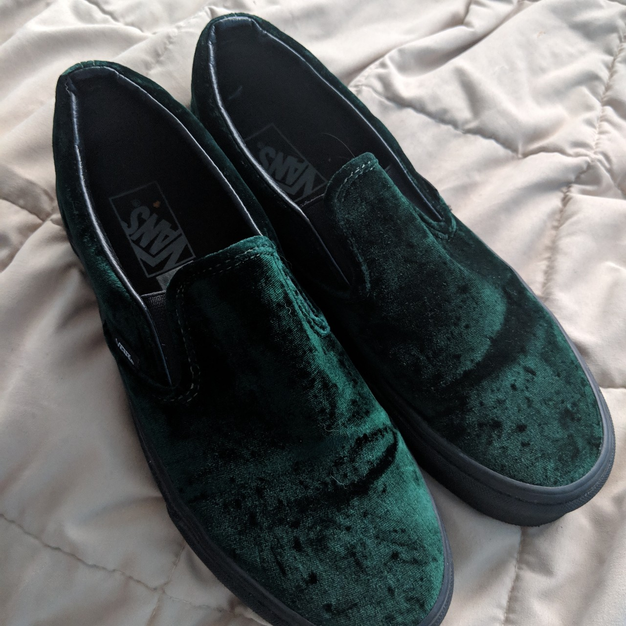 Vans green suede shoes, womens size 9.5