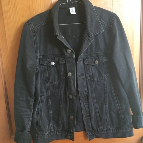 H M Black Denim Jacket Never Worn Brought For 40 H M Depop