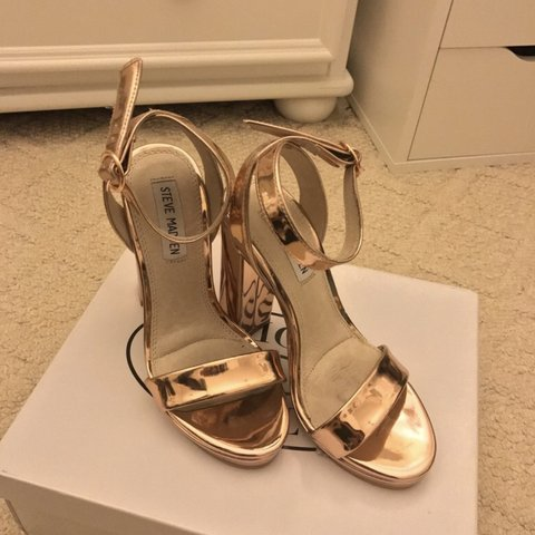 600e630f82b Addon Rose Gold Heels Size 5. Heel size is 4 inches. Worn to - Depop