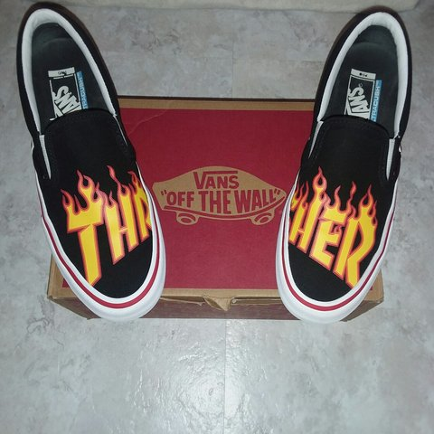 Vans x Thrasher Slip-on Pro Black Skate Shoes  b33985f5d