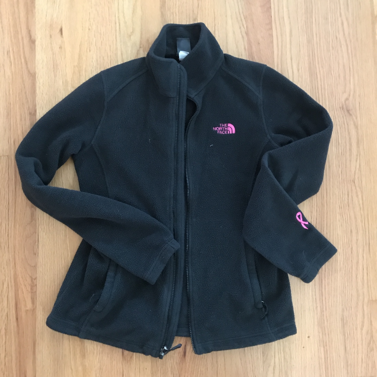 2bd9db4f8 Black and pink North Face fleece. All black with... - Depop