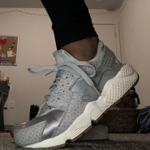 23e1a89cdf5 Silver and gray Nike Huaraches I m good condition  gently on - Depop