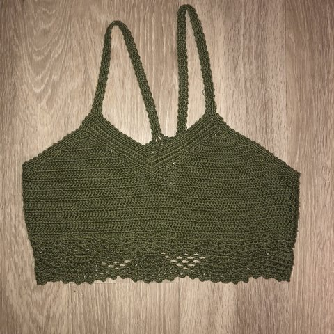 9420b903b3 Olive crochet cropped tank top- in good condition Brand  - Depop