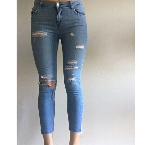 a3a4a3d59ee @lfroth. 11 months ago. Seattle, United States. Topshop MOTO distressed  ripped medium wash Jamie jeans! W28 L30.