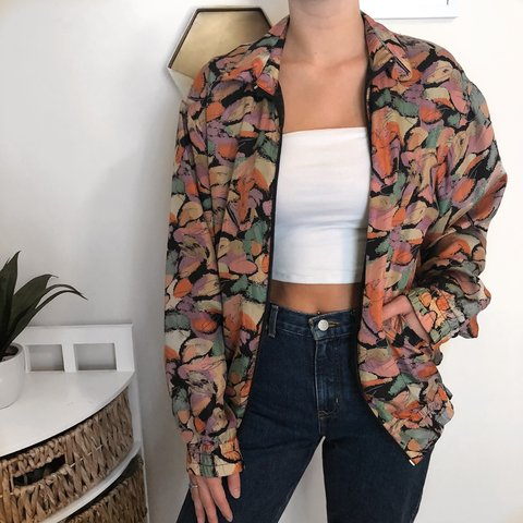 1308220bb9d53c Check out this bomber jacket 🤩 The colors   pattern make it - Depop