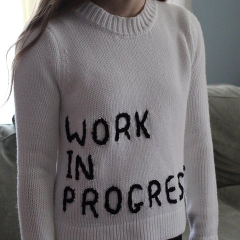 "8ee1e8fcc9 White ""work in progress"" sweater Cropped Never been worn - Depop"