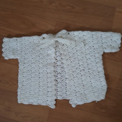For Sale Baby Girls Crochet Cardigan Colour White Size As Depop
