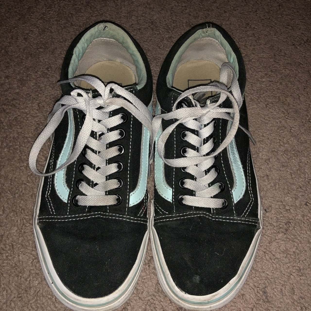 33ae83977f0 VERY WORNED MINT GREEN OLD SKOOL VANS! I ve had these for in - Depop