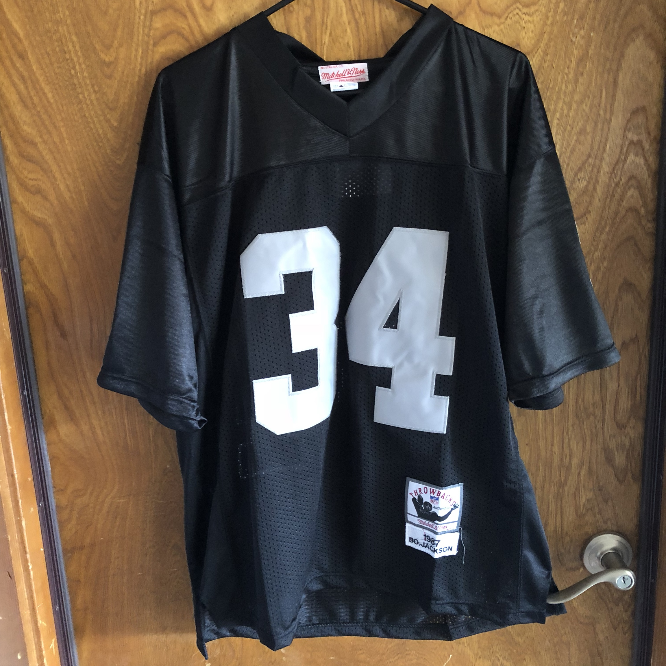 new product 7c49a 89158 Mitchell and ness Bo Jackson raiders jersey size... - Depop