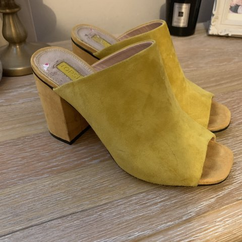 511c23ab8a04 Topshop mustard mules. Only worn twice - Depop