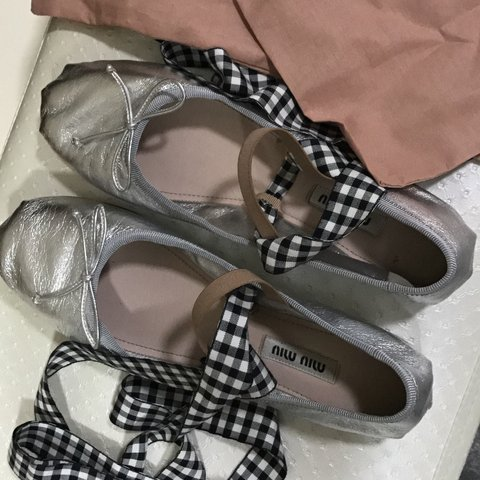 311eec73d588 Miu miu ballerinas Comes with 2 pairs of ribbons (black and - Depop