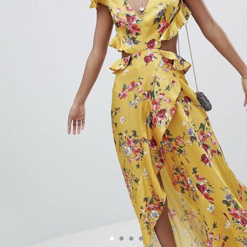c8eed55d3f @melfielding. 2 months ago. Bury, United Kingdom. ASOS DESIGN ruffle yellow  midi maxi dress with cut out sides and back in floral print.