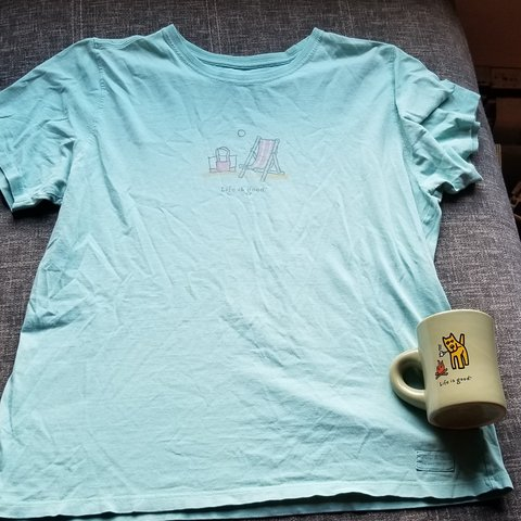 ad9a4658b205bc Life is good coffee cup and t shirt bundle shirt is a size a - Depop