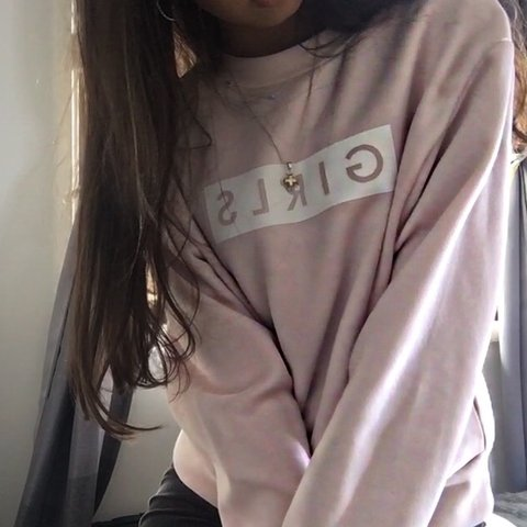 """d64b09fc8 nude lucy - pink crewneck labeled """"girls"""" - super great wore - Depop"""