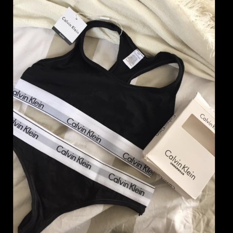 ba88b1178dff4 PRICE IS FIRM  Calvin Klein thong and bralette underwear in - Depop
