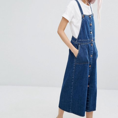 7199a8b598 Monki denim pinafore dungaree dress. £40 full price on ASOS. - Depop