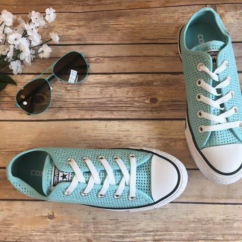 8e426dd03b4c Converse All Star Blue Perforated Sneaker Women s Oxford up - Depop