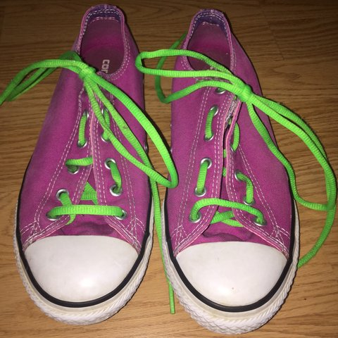 3a457ec8f250 Pink converse with green shoelaces. These shoes are a little - Depop